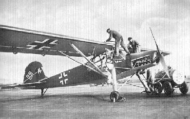 The Fieseler Fi 156 Storch was a remarkable aircraft that was first flown on 24 May 1936. A braced high-wing monoplane with a conventional fixed landing gear with long-stroke main units, it was powered by an 240 hp Argus 8-cylinder inverted-Vee air-cooled engine, and its extensively glazed cabin provided an excellent view for its three-man crew.