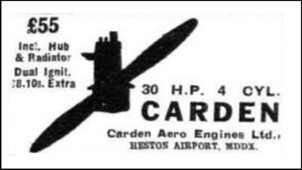 An early advert for the Carden aero engine before it was taken over by Chilton Aircraft